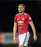 James Wilson of Man Utd during the U23 Premier League 2 match between Chelsea and Manchester United at the EBB Stadium, Aldershot, England on 18 September 2017. Photo by Andy Rowland.