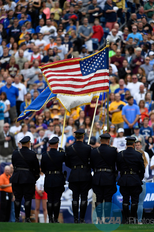 FOXBORO, MA - MAY 28: A general view of the U.S. flag during the national anthem during the Division II Men's Lacrosse Championship held at Gillette Stadium on May 28, 2017 in Foxboro, Massachusetts. (Photo by Larry French/NCAA Photos via Getty Images)