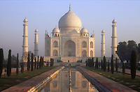 Taj Mahal at Agra; India; with reflection in pool,