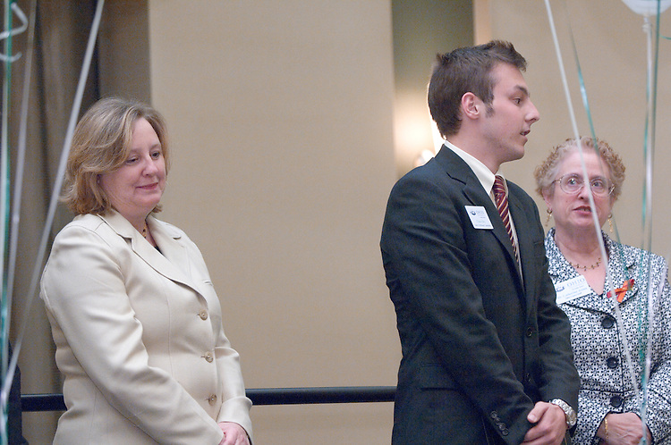 18174Sales Celebration and Awards Ceremony, April 19, 2007. Walter Hall Rotunda...Ralph & Luci Schey Scholarships..Mrs.Dorothy Schey, Dr. Catherine Axinn & Chris Sirc