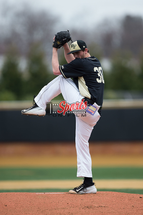 Wake Forest Demon Deacons starting pitcher Connor Johnstone (30) in action against the Miami Hurricanes at Wake Forest Baseball Park on March 22, 2015 in Winston-Salem, North Carolina.  The Demon Deacons defeated the Hurricanes 10-4.  (Brian Westerholt/Sports On Film)