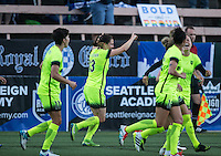 Seattle, WA - Saturday July 23, 2016: Keelin Winters, Kendall Fletcher celebrates scoring during a regular season National Women's Soccer League (NWSL) match between the Seattle Reign FC and the Orlando Pride at Memorial Stadium.