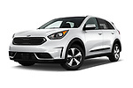 Stock pictures of low aggressive front three quarter view of 2017 KIA Niro FE 5 Door Hatchback Low Aggressive