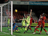Exeter City's Jordan Moore-Taylor makes it 2-0 during the Sky Bet League 2 match between Crawley Town and Exeter City at Broadfield Stadium, Crawley, England on 28 February 2017. Photo by Carlton Myrie / PRiME Media Images.
