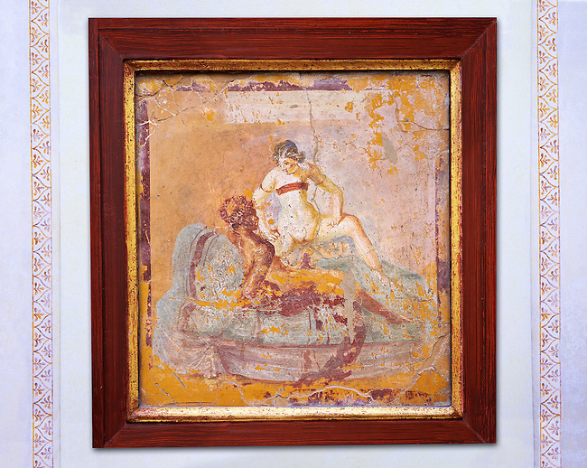 1 cent AD Roman Erotic  fresco of a man & woman having sex  from a house in Pompeii. Naples Archaological Museum inv no: 27686