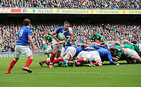 Sunday10th March 2019 | Ireland vs France<br /> <br /> Louis Picamoles passes to Antoine Dupont the Guinness 6 Nations clash between Ireland and France at the Aviva Stadium, Lansdowne Road, Dublin, Ireland. Photo by John Dickson / DICKSONDIGITAL