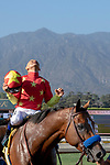 ARCADIA, CA  JUNE 23:#4 American Anthem, ridden by Mike Smith, give thanks after winning the San Carlos Stakes on June 23, 2018, at Santa Anita Park in Arcadia, CA.  (Photo by Casey Phillips/Eclipse Sportswire/Getty Images)