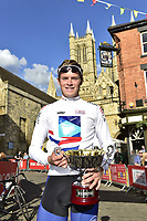 Picture by Allan McKenzie/SWpix.com - 14/05/2017 - Cycling - HSBC UK British Cycling Spring Cup Series  - Lincoln Grand Prix 2017 -<br /> Winner of Spring Cup Leaders Jersey Rory Townsend in front of Cathedral