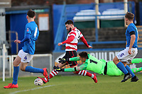 Louie Theophanous of Kingstonian scores the 4th during Macclesfield Town vs Kingstonian, Emirates FA Cup Football at the Moss Rose Stadium on 10th November 2019