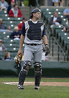 June 1, 2004:  Catcher Mike DeFelice of the Toledo Mudhens during a game at Frontier Field in Rochester, NY.  The Mudhens are the Triple-A International League affiliate of the Detroit Tigers.  Photo By Mike Janes/Four Seam Images