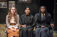 From left, Megan Mckiernan '19, Maricela Guardado '17 and Doyin Domingo '17. Dress rehearsal for the Occidental College Department of Theater's production of Anton Chekhov's Three Sisters, adapted by Sarah Ruhl and directed by Edgerton Guest Artist Juliette Carrillo. Keck Theater, Nov. 18, 2015.<br />