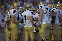 08 September 2007:  Notre Dame QB Jimmy Clausen (7) in the huddle.  The Penn State Nittany Lions defeated the Notre Dame Fighting Irish 31-10 September 8, 2007 at Beaver Stadium in State College, PA..