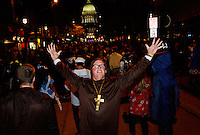 A crazed monk casts out spirits in front of the State Capitol in Madison during Freak Fest on Saturday during Freakfest 2015 on State Street in Madison, Wisconsin