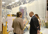 """SDO program Manager, left,  Deescribes the SDO project to Prince Philip in from of Spacecraft Clean tent.  Photo Credit: """"NASA/Chris Gunn"""""""