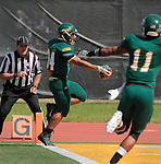 SEPTEMBER 13, 2014 -- Phydell Paris #34 of Black Hills State scores a touchdown during their college football game against South Dakota Mines Saturday at Lyle Hare Stadium in Spearfish, S.D.  (Photo by Dick Carlson/Inertia)