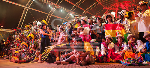 Indigenous people watch a cultural presentation at the International Indigenous Games in Brazil. 21st October 2015