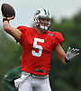 Christian Hackenberg #5, quarterback, throws a pass during New York Jets Training Camp at the Atlantic Health Jets Training Center in Florham Park, NJ on Tuesday, Aug. 8, 2017.