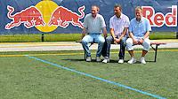 erster Pressetermin Rasenballsport e.V. Leipzig RB Leipzig Red Bull - Stadion am Bad in Markranstädt - im Bild: Perry Bräutigam, Tino Vogel, Lars Weißenberger (v.l.). Foto: Norman Rembarz..