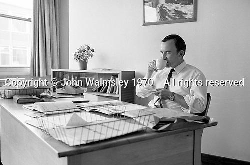 Head Teacher in his study, Whitworth Comprehensive School, Whitworth, Lancashire.  1970.