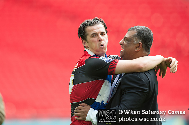 Queens Park Rangers 1 Derby County 0, 24/05/2014. Wembley Stadium, Championship Play Off Final. Joey Barton celebrates with chairman Tony Fernandes after the Championship Play-Off Final between Queens Park Rangers and Derby County from Wembley Stadium.  Photo by Simon Gill.