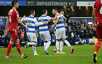 Queens Park Rangers celebrating during Queens Park Rangers vs Middlesbrough, Sky Bet EFL Championship Football at Loftus Road Stadium on 9th November 2019