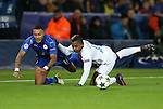 Leicester's Danny Simpson tussles with Brugge's Jose Izquierdo during the Champions League group B match at the King Power Stadium, Leicester. Picture date November 22nd, 2016 Pic David Klein/Sportimage