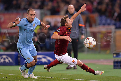 10.12.2014. Rome, Italy. UEFA Champions League Group E match between AS Roma 0-2 Manchester City at Stadio Olimpico in Rome Adem Ljajic Roma, Pablo Zapaleta Manchester.
