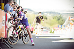Exhausted rider at the top of the brutal Mur de Huy climb at the end of La Fleche Wallonne Femmes 2018 running 118.5km from Huy to Huy, Belgium. 18/04/2018.<br /> Picture: ASO/Thomas Maheux | Cyclefile.<br /> <br /> All photos usage must carry mandatory copyright credit (© Cyclefile | ASO/Thomas Maheux)