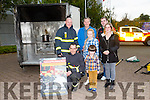 Kerry Fire Service Live Demonstration at Manor West Shopping Centre on Sunday were l-r  Tralee Fire Station Crew PJ O'Dowd,and John O'Donnell, with Erin Keeley and James Deedy. Back l-r Joe Keeley, Seamus Deedy and Tracy Kerins