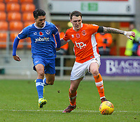 Blackpool's Callum Cooke holds off the challenge from Portsmouth's Danny Rose<br /> <br /> Photographer Alex Dodd/CameraSport<br /> <br /> The EFL Sky Bet League One - Blackpool v Portsmouth - Saturday 11th November 2017 - Bloomfield Road - Blackpool<br /> <br /> World Copyright &copy; 2017 CameraSport. All rights reserved. 43 Linden Ave. Countesthorpe. Leicester. England. LE8 5PG - Tel: +44 (0) 116 277 4147 - admin@camerasport.com - www.camerasport.com