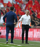 Tottenham Hotspur manager Mauricio Pochettino  and Manchester United manager Jose Mourinho shake hands at the end of the game<br /> <br /> Photographer Rob Newell/CameraSport<br /> <br /> Emirates FA Cup - Emirates FA Cup Semi Final - Manchester United v Tottenham Hotspur - Saturday 21st April 2018 - Wembley Stadium - London<br />  <br /> World Copyright &copy; 2018 CameraSport. All rights reserved. 43 Linden Ave. Countesthorpe. Leicester. England. LE8 5PG - Tel: +44 (0) 116 277 4147 - admin@camerasport.com - www.camerasport.com