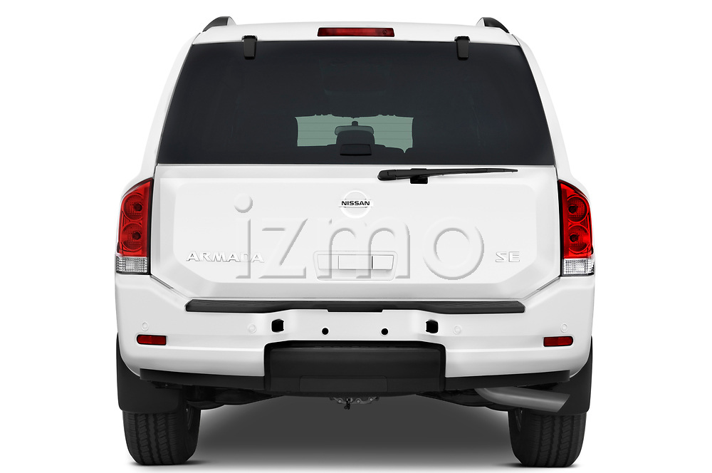 Straight rear view of a 2010 Nissan Armada SE 5 Door SUV stock images
