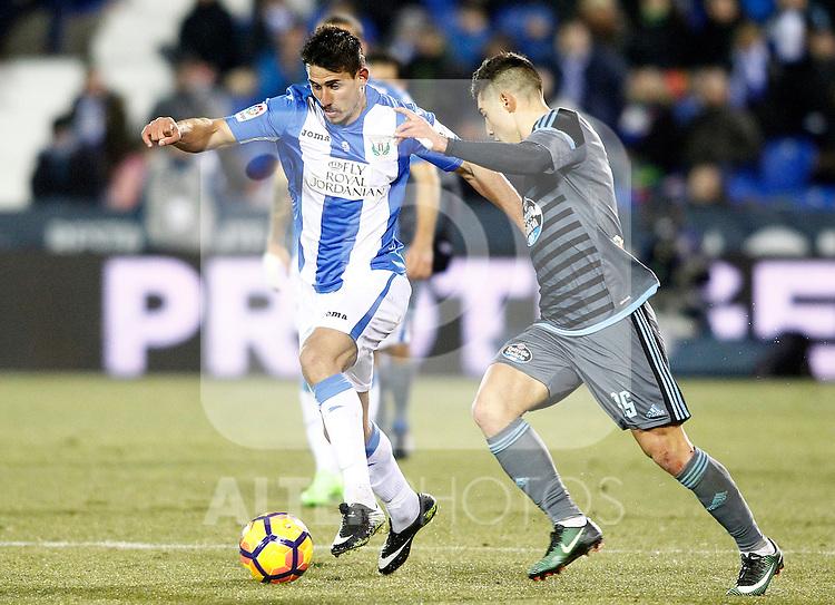 CD Leganes' Gabriel Pires (l) and Celta de Vigo's Alvaro Lemos during La Liga match. January 28,2017. (ALTERPHOTOS/Acero)