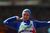 06.08.2012. London, England.  Leyla Rajabi of Iran Competes in the womens Shot Put Qualification  London 2012 Olympic Games