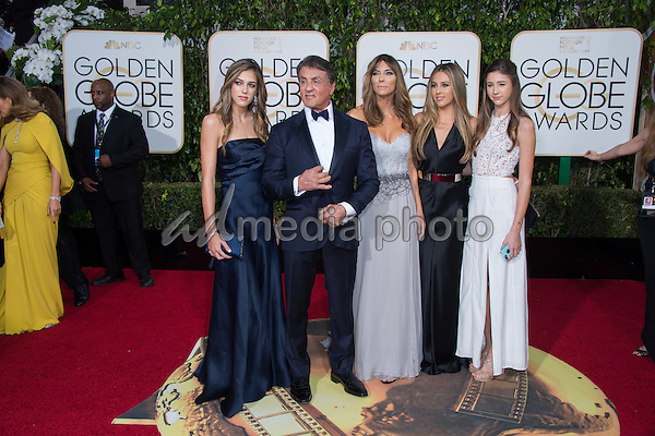 "Sylvester Stallone, Golden Globe nominee for BEST PERFORMANCE BY AN ACTOR IN A SUPPORTING ROLE IN A MOTION PICTURE for his role in ""Creed,""  and his family, arrive at the 73rd Annual Golden Globe Awards at the Beverly Hilton in Beverly Hills, CA on Sunday, January 10, 2016. Photo Credit: HFPA/AdMedia"
