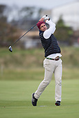 3rd October 2017, The Old Course, St Andrews, Scotland; Alfred Dunhill Links Championship, practice round; Former England cricket captain Kevin Pietersen tees off on the eighteenth hole on the Old Course, St Andrews during a practice round ahead of the Alfred Dunhill Links Championship