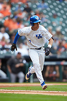 Trey Dawson (2) of the Kentucky Wildcats hustles down the first base line against the Sam Houston State Bearkats during game four of the 2018 Shriners Hospitals for Children College Classic at Minute Maid Park on March 3, 2018 in Houston, Texas. The Wildcats defeated the Bearkats 7-2.  (Brian Westerholt/Four Seam Images)