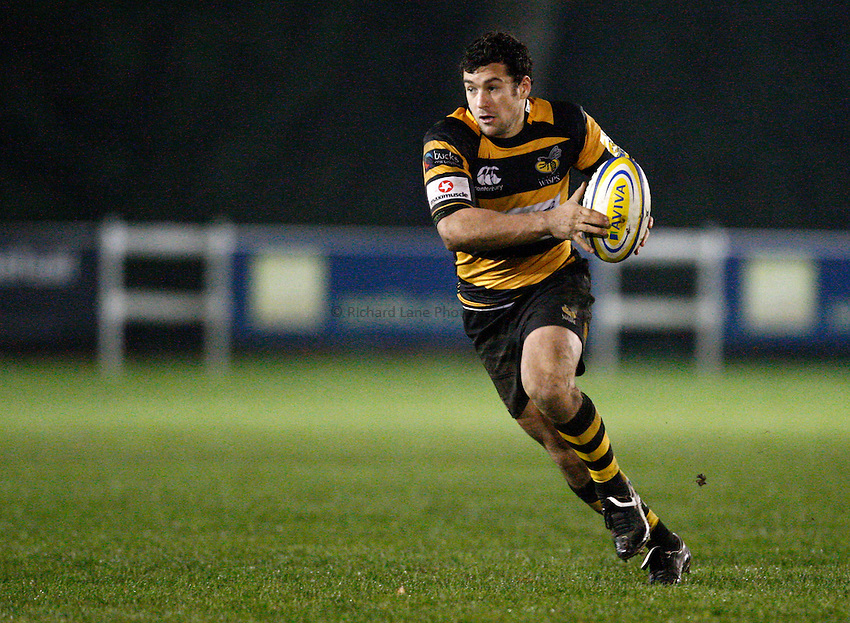 Photo: Richard Lane/Richard Lane Photography. Wasps A v Saracens Stormers. Aviva A League. 28/11/2011. Wasps' Ryan Davis attacks.