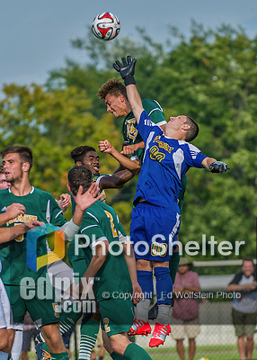 5 September 2014: University of Vermont Catamount Goalkeeper Conor Leland, a Senior from Richmond, VT, makes a save against the La Salle University Explorers at Virtue Field in Burlington, Vermont. The Catamounts, playing a man down for 66 minutes, defeated the visiting Explorers 2-1 on the first day of the Morgan Stanley Windjammer Classic Men's Soccer Tournament. Mandatory Credit: Ed Wolfstein Photo *** RAW (NEF) Image File Available ***