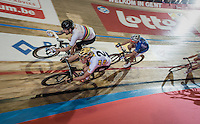 World Champion Sir Bradley Wiggins (GBR/Wiggins)  lining up vs. Olympic Champion Elia Viviani (ITA/SKY) for the last corner: World Champion vs. Olympic Champion sprint; Rainbow vs. Gold...<br /> <br /> 2016 Gent 6<br /> day 2