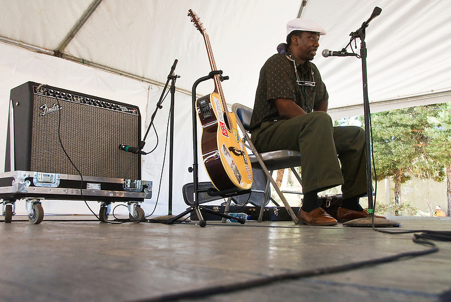 An artist performs on stage during the National Folk Festival in Butte, Montana.