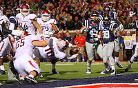 11/7/15<br /> Arkansas Democrat-Gazette/STEPHEN B. THORNTON<br /> Arkansas' QB Brandon Allen dives over the goal line for the winning two point conversion in overtime to beat  Ole Miss  Saturday's game in Oxford, Miss.