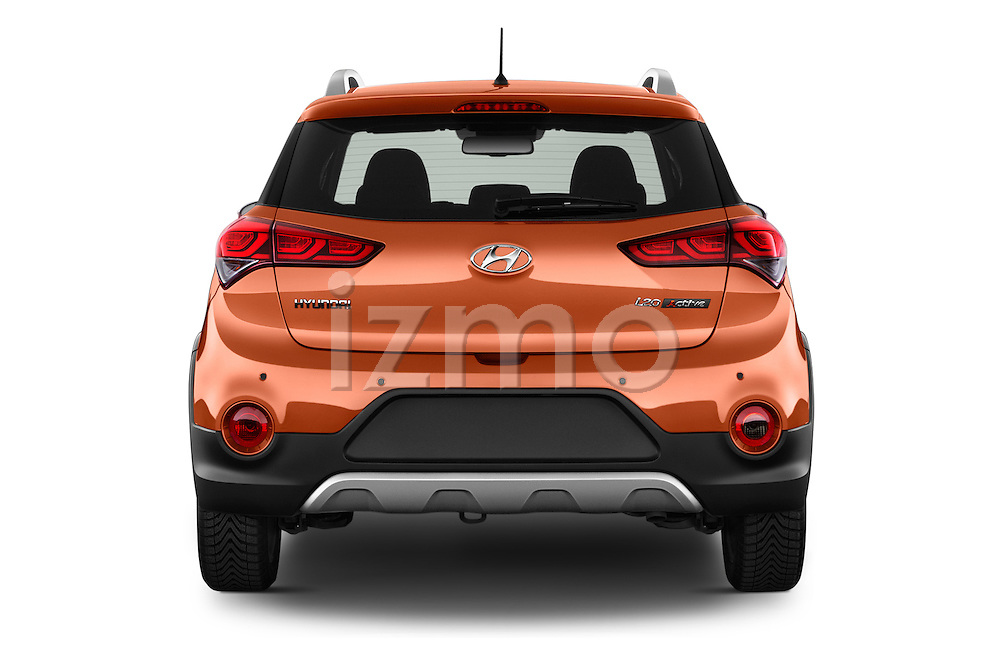 Straight rear view of 2016 Hyundai i20 ACTIVE Pop 5 Door Hatchback Rear View  stock images