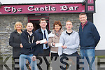 IN HOUSE: On Friday outside the Castle Bar Tralee two cheques of ?500 were presented to two charity's Spa/Fenis Hospice Foundation and Kerry Branch of Enable Ireland, L-r: Deirdre McElligott (KHF Spa/Fenit), Fergal O'Sullivan (Castle Bar), Sean Scally (KBEIre), Margaret        , (treasurer Spa/Fenit KHF), Darren O'Sullivan and Gerard O'Sullivan (Castle Bar,Tralee.