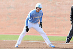 13 February 2015: North Carolina's Skye Bolt takes a lead off of first base. The University of North Carolina Tar Heels played the Seton Hall University Pirates in an NCAA Division I Men's baseball game at Boshamer Stadium in Chapel Hill, North Carolina. UNC won the game 7-1.