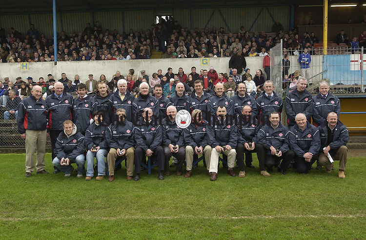 Members and representatives of the Eire Og Dals team of 1980 who wete honoured at the county hurling final in Cusack Park. Photograph by John Kelly.