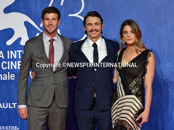 03.09.2016; Venice, Italy: ASHLEY GREEN, JAMES FRANCO AND AUSTIN STOWELL<br /> atttend &ldquo;In Dubious Battle&ldquo; screening at the 73rd Venice Film Festival.<br /> Mandatory Credit Photo: &copy;Pixonline/NEWSPIX INTERNATIONAL<br /> <br /> PHOTO CREDIT MANDATORY!!: NEWSPIX INTERNATIONAL(Failure to credit will incur a surcharge of 100% of reproduction fees)<br /> <br /> IMMEDIATE CONFIRMATION OF USAGE REQUIRED:<br /> Newspix International, 31 Chinnery Hill, Bishop's Stortford, ENGLAND CM23 3PS<br /> Tel:+441279 324672  ; Fax: +441279656877<br /> Mobile:  0777568 1153<br /> e-mail: info@newspixinternational.co.uk<br /> Please refer to usage terms. All Fees Payable To Newspix International
