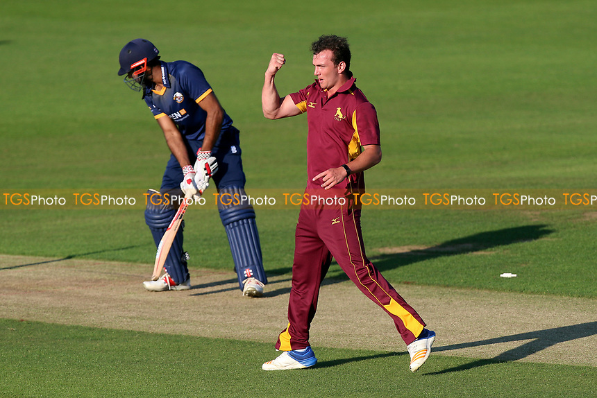 Dustin Melton celebrates taking the wicket of Essex batsman Varun Chopra during Essex Eagles vs Premier Leagues XI, T20 Friendly Match Cricket at The Cloudfm County Ground on 4th July 2017