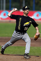 03 September 2011: Alfieri Morales of L&D Amsterdam Pirates pitches against Vaessen Pioniers during game 1 of the 2011 Holland Series won 5-4 in inning number 14 by L&D Amsterdam Pirates over Vaessen Pioniers, in Hoofddorp, Netherlands.