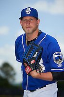 Biloxi Shuckers pitcher Tyler Wagner (34) poses for a photo before a game against the Birmingham Barons on May 24, 2015 at Joe Davis Stadium in Huntsville, Alabama.  Birmingham defeated Biloxi 6-4 as the Shuckers are playing all games on the road, or neutral sites like their former home in Huntsville, until the teams new stadium is completed in early June.  (Mike Janes/Four Seam Images)
